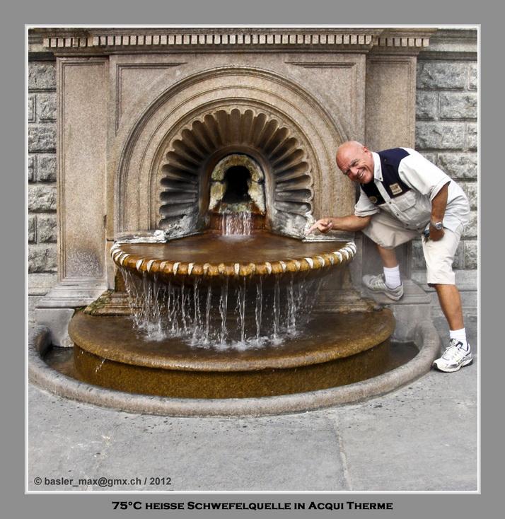 Quelle mit 75°C heissem schwefelhaltigem Wasser