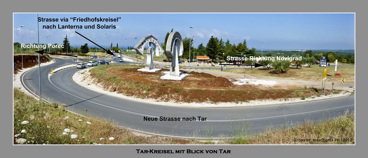 Kreisel auf der Hauptstrasse Novigrad - Tar - Porec