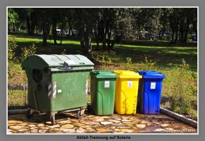 Abfallbehälter auf Camping Solaris auf Istrien