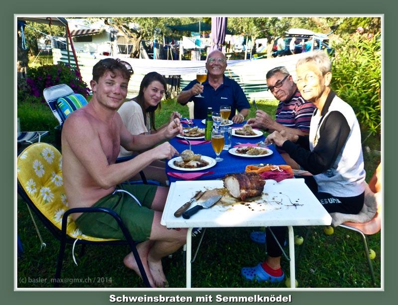 Camping Solaris: Essen Schweinsbraten