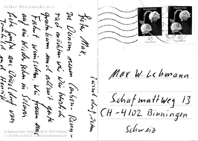 Postkarte, Handschrift