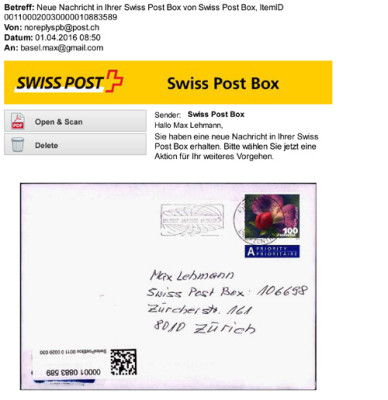 eMail von der SWISS-POST-BOX über meinen Brief