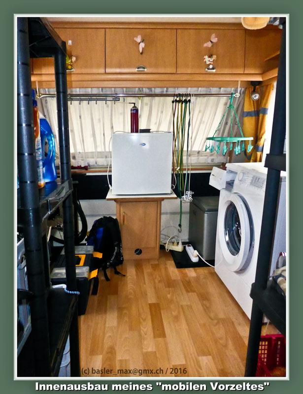 Man beachte den Tiefkühler und die Waschmaschine