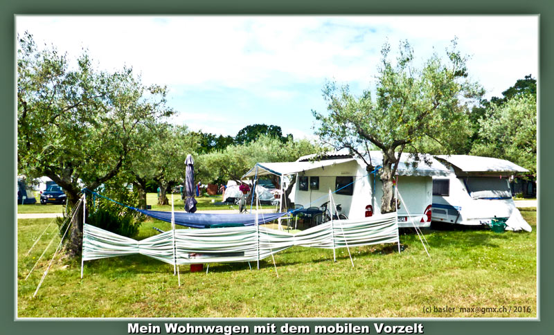 Camping Solaris Wohnwagen mit mobilem Vorzelt