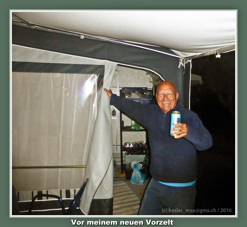 Camping Solaris: Party nach Unwetter Wohnwagen Einweihung: Max Vorzelt