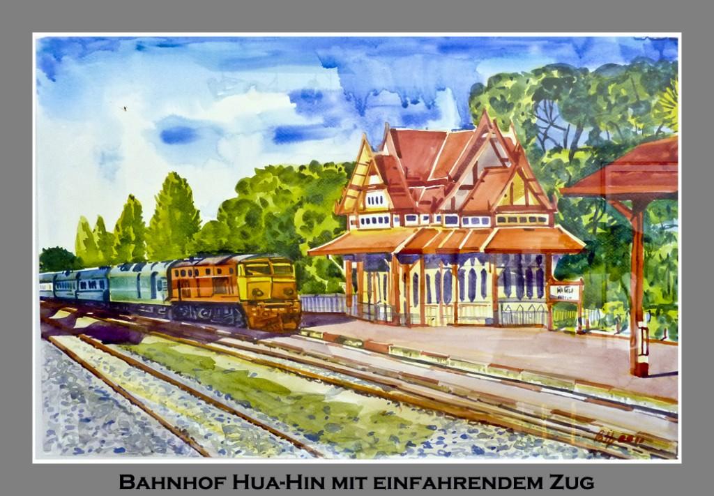 Aquarell-Bild vom berühmten Bahnhofs-Wartehaus in Hua-Hin
