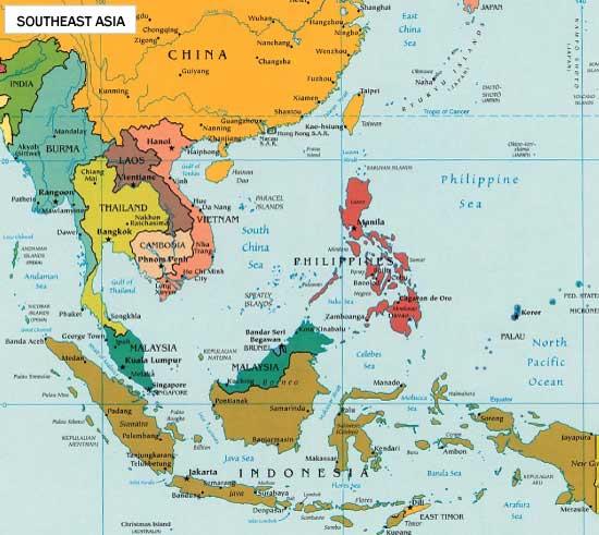 Karte von Süd-Ost-Asien