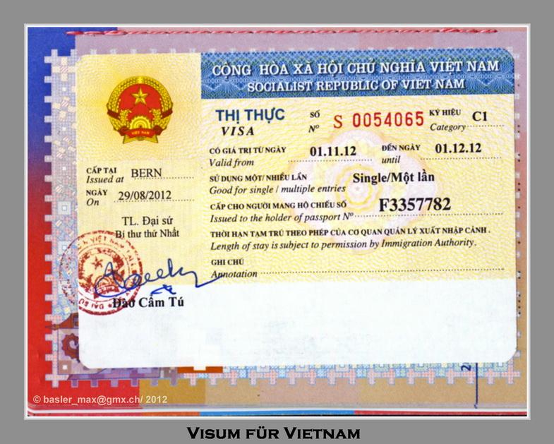 Mein Vietnam Visum für den Nov. 2012