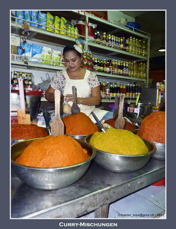 Curry-Geschäft auf dem Hauptmarkt in Hua-Hin