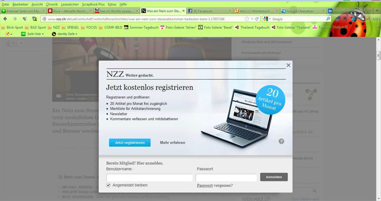 Registrierungs-Windows der NZZ
