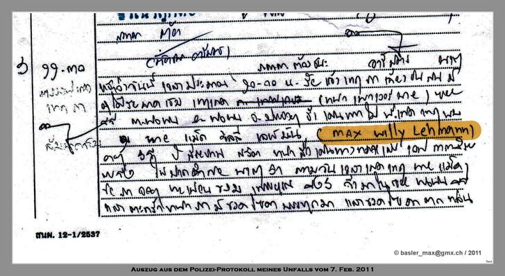 Polizei Protokoll meines Unfalls in Thai-Schrift