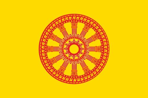 """Die """"Dharmacakra-""""Flagge, das Symbol des thailändischen Buddhismus"""