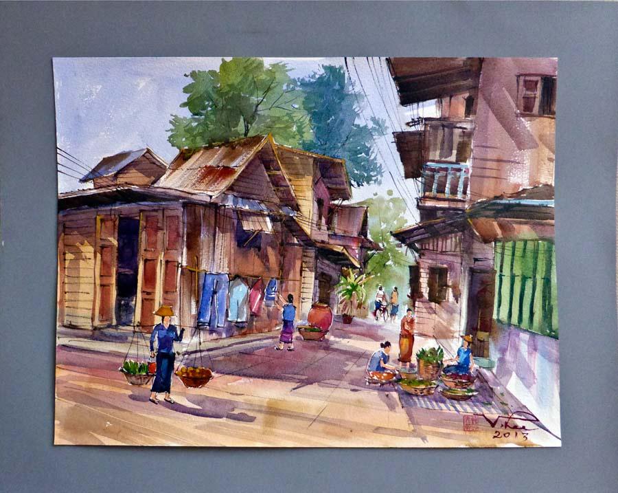 Bangkok Chinesische Häuser hinter dem Sirikit Park
