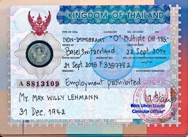 "22. Sept. 2014: Thailand Non Immigrant Visum ""O"" mit 1 Jahr Gültigkeit"