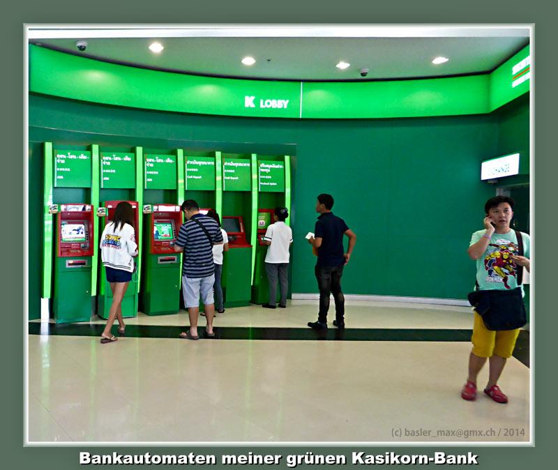Die Bankautomaten der grünen Kasikorn Bank