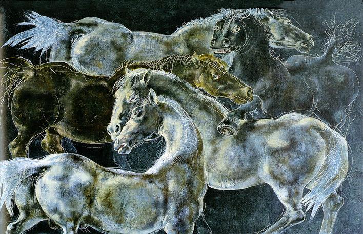 """""""Fünf Pferde"""", 1958, Hans Erni"""