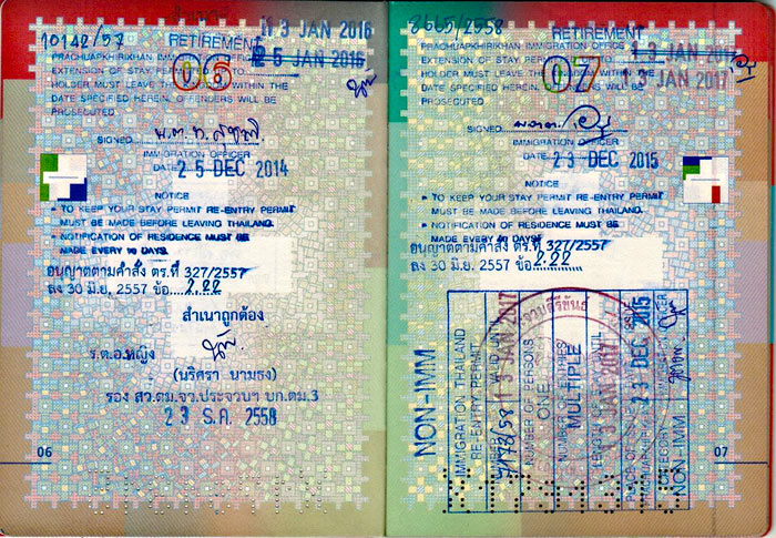 20151223_ Pass Thai Visum Extension und departure Card