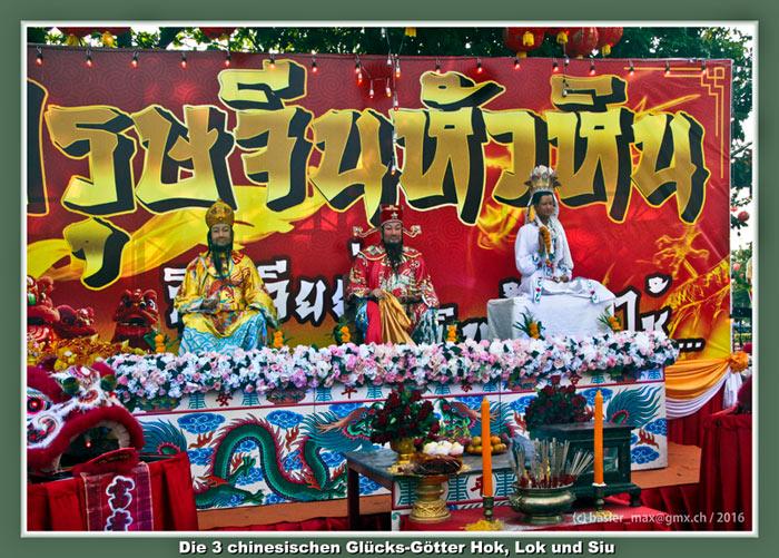 7. Feb. 2016: Hua-Hin Chinesisch Neujahr (Silvester) drei chinesischen Götter Hok, Lok und Siew