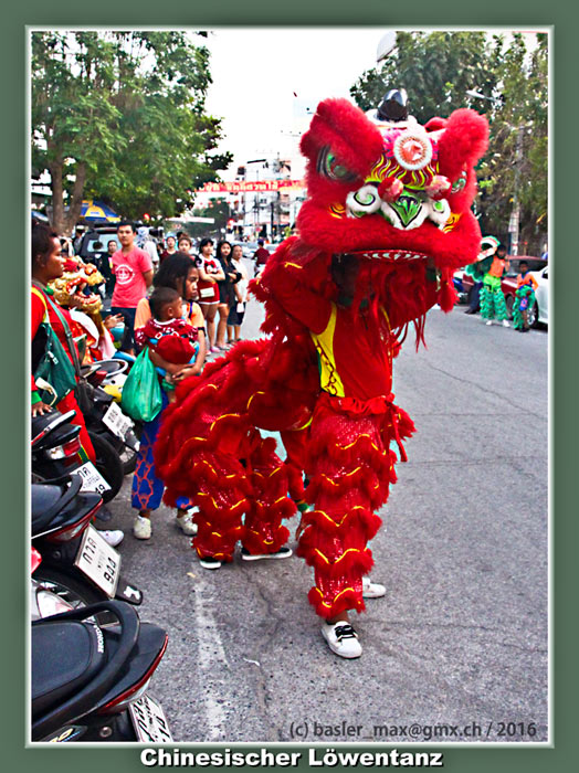 7. Feb. 2016: Hua-Hin Chinesisch Neujahr (Silvester): Chinesischer Löwentanz