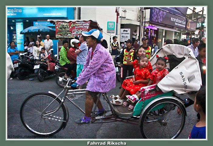 7. Feb. 2016: Hua-Hin Chinesisch Neujahr (Silvester): Fahrrad Rikscha