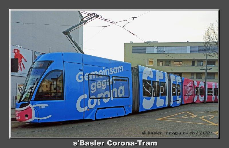 Basler Tram mit Corona Werbung