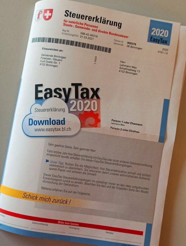 Formular Steuererklärung BL