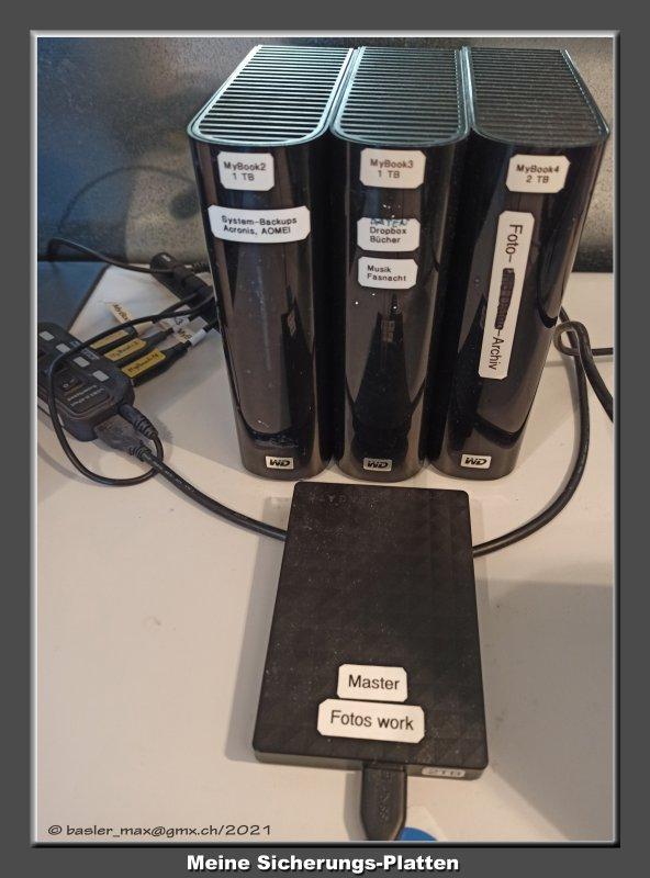 Datensicherung, Magnetplatten für Backups, Foto-Archivs, System-Backups, Dropbox